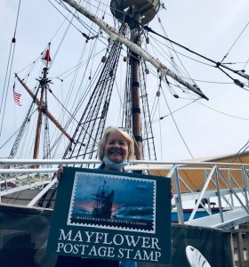 New US Postage Stamp of the Mayflower, 1620, issued in Plymouth, September 17, 2020.